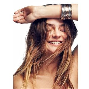 Free People Scripted Bangles Set of 6 Silver